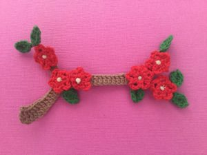 Crochet branch with flowers