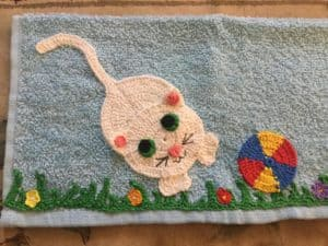 Crochet cat face washer