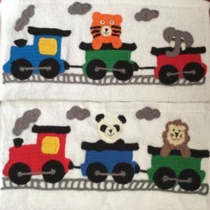 Finished crochet train series on face washers