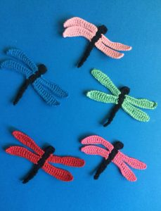 Finished crochet dragonfly group