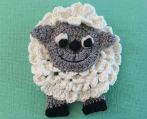 Crochet sheep body with front legs