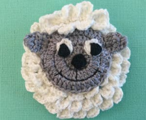 Crochet sheep body with head and topknot