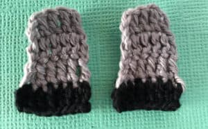 Crochet sheep front legs with hoofs