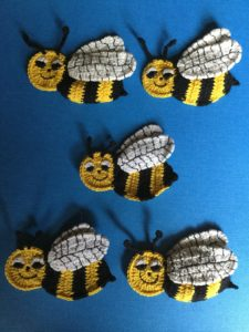 Finished crochet bee group portrait