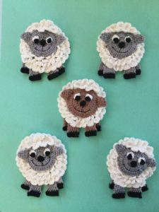 Finished crochet sheep group portrait