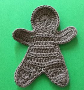 Crochet gingerbread man body with neatened edges