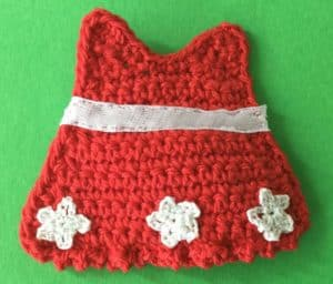 Crochet gingerbread woman dress with ribbon