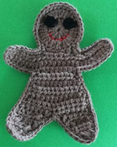Crochet gingerbread man with eyes
