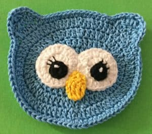 Crochet owl face with beak