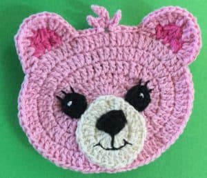 Crochet teddy bear head with eyes