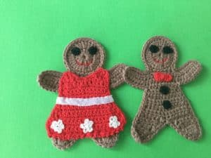 Finished crochet gingerbread couple landscape