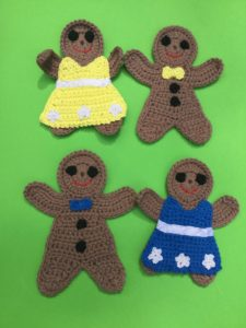 Finished crochet gingerbread group portrait