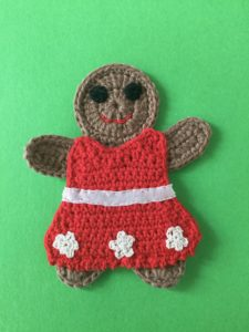 Finished crochet gingerbread woman portrait