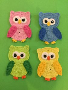 Finished crochet owl group 1 portrait