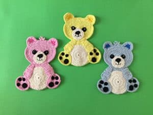Finished crochet teddy bear group landscape