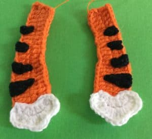 Crochet crouching tiger arms with spots