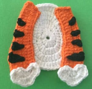 Crochet crouching tiger body with arms