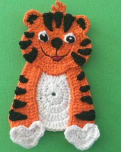 Crochet crouching tiger head and body