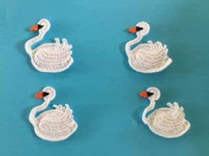 Finished crochet swan group landscape