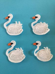 Finished crochet swan group portrait