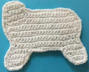 Crochet unicorn body neatened