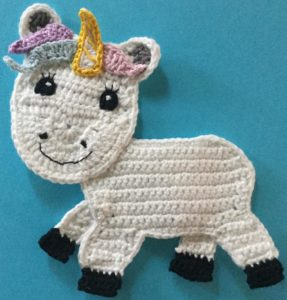 Crochet unicorn body with horn