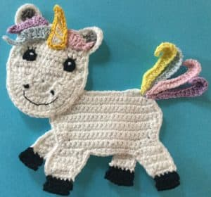 Crochet unicorn body with tail