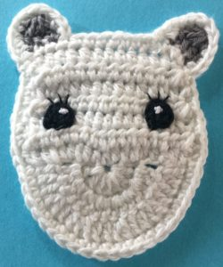 Crochet unicorn head with eyes