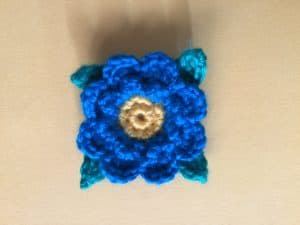 Finished crochet flower for granny square landscape