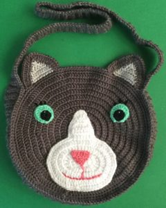 Crochet cat bag first side joined