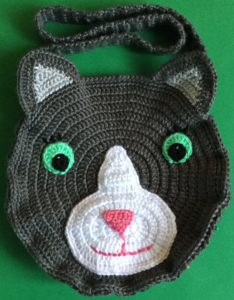 Crochet cat bag front of first side pinned