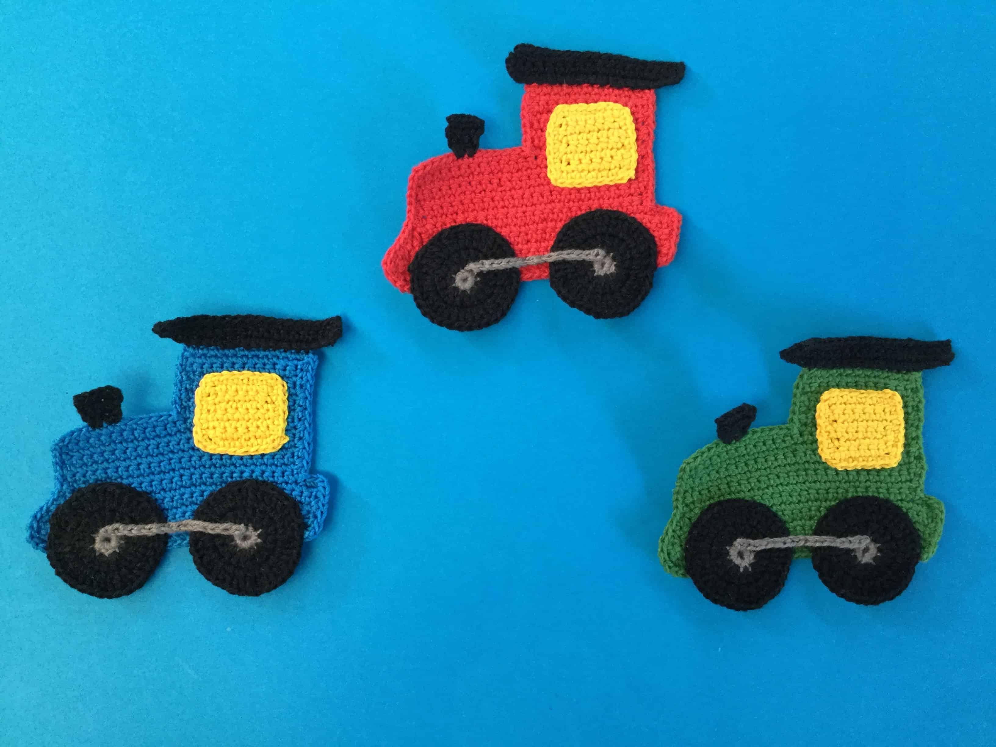Finished crochet train engine group landscape