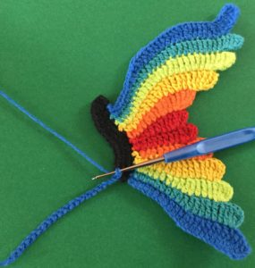 Crochet butterfly beginning second wing