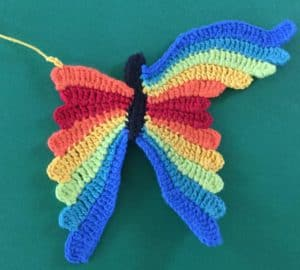 Crochet butterfly second wing chain for ninth segment