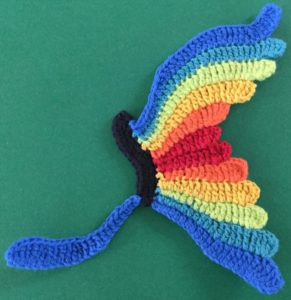 Crochet butterfly second wing first segment