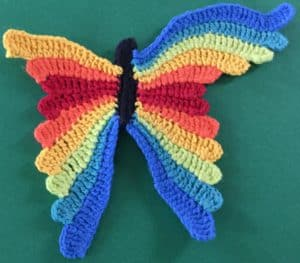 Crochet butterfly second wing ninth segment