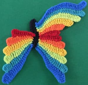 Crochet butterfly second wing sixth segment