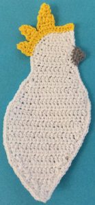 Crochet cockatoo crest third section