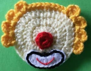 Crochet clown with tophat head with mouth