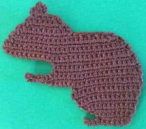 Crochet squirrel body and first ear