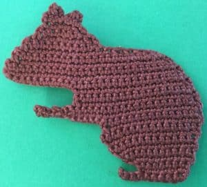 Crochet squirrel body with ears
