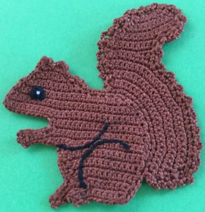 Crochet squirrel body with markings