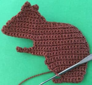 Crochet squirrel joining for back foot