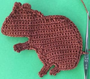 Crochet squirrel joining for tail