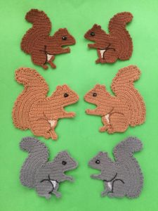 Finished crochet squirrel group portrait 1
