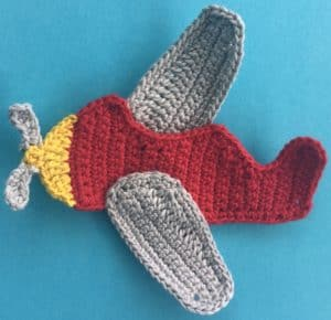 Crochet airplane applique body with wings