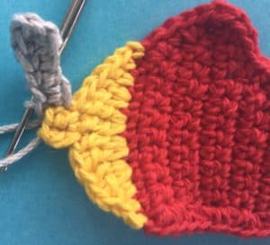 Crochet airplane applique joining for top of first propeller