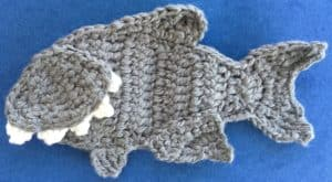Crochet shark body with large bottom fin