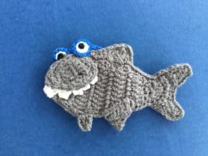 Finished crochet shark with glasses landscape