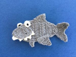 Finished crochet shark landscape